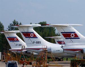 Three Air Koryo planes on the tarmac.