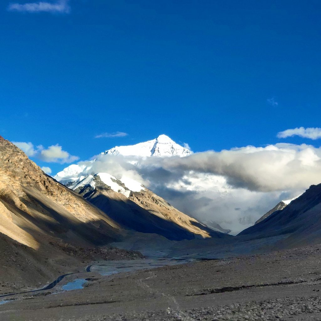 The peak of Mount Everest, seen from the Tibet side