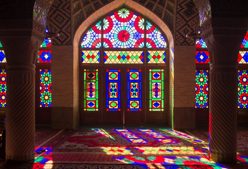 The tinted glasses of a shrine in Iran