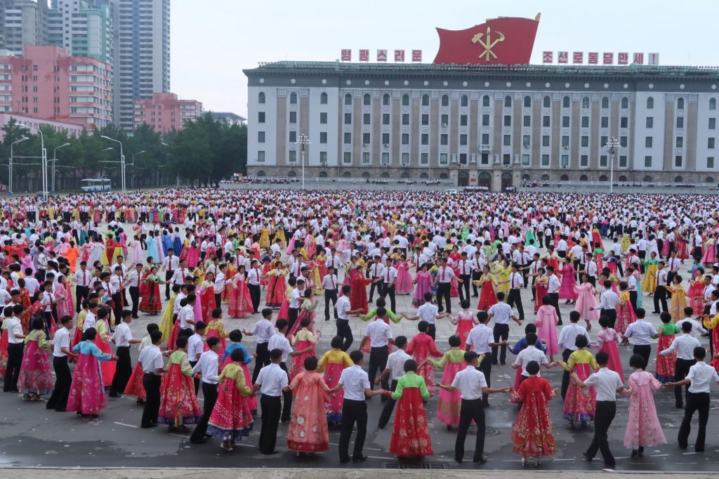 A mass dance taking place on Kim Il Sung Square