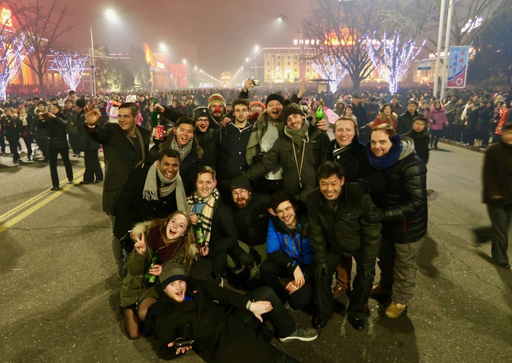Our group standing on Kim Il Sung square during New Years