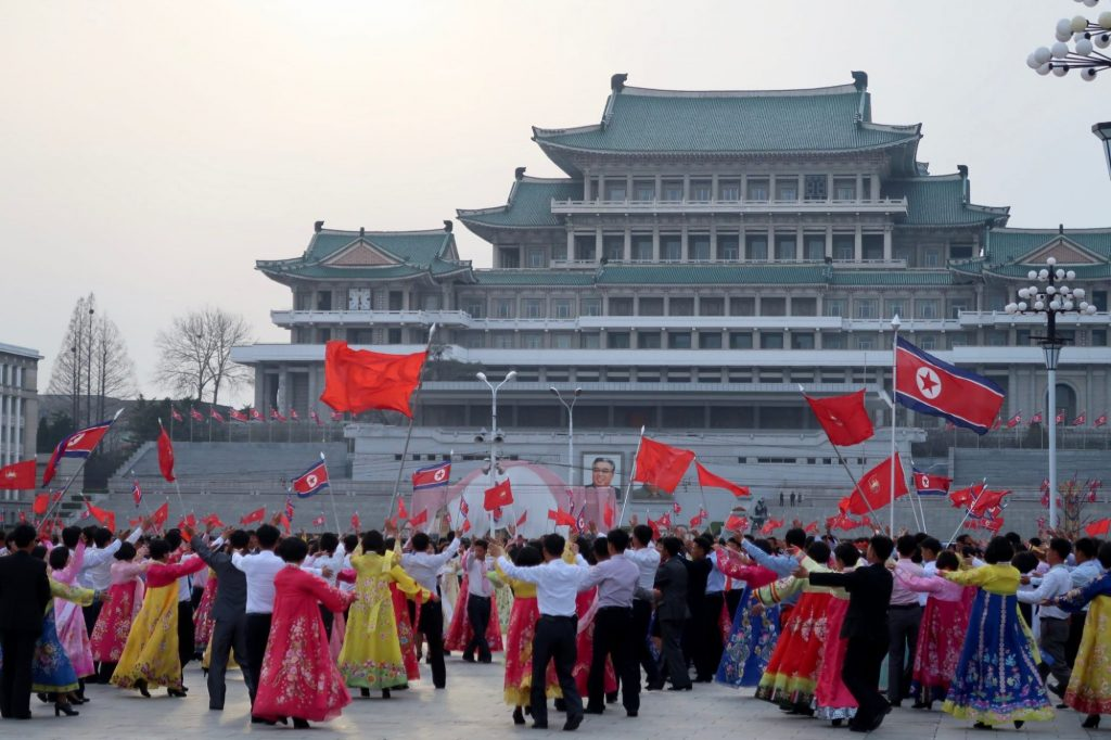 A performance taking place on Kim Il Sung square