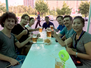 Tourists relax with a beer at Kwangbok Department Store