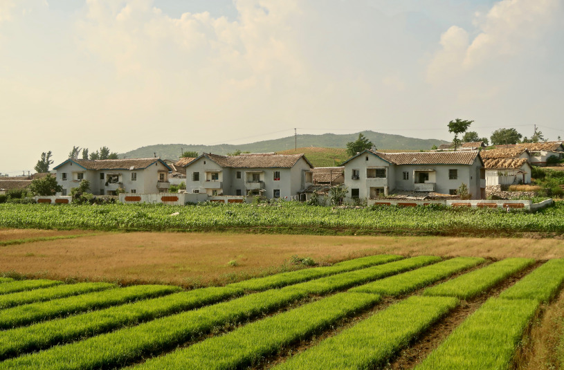 A view of country houses and fields in Anju County, North Korea