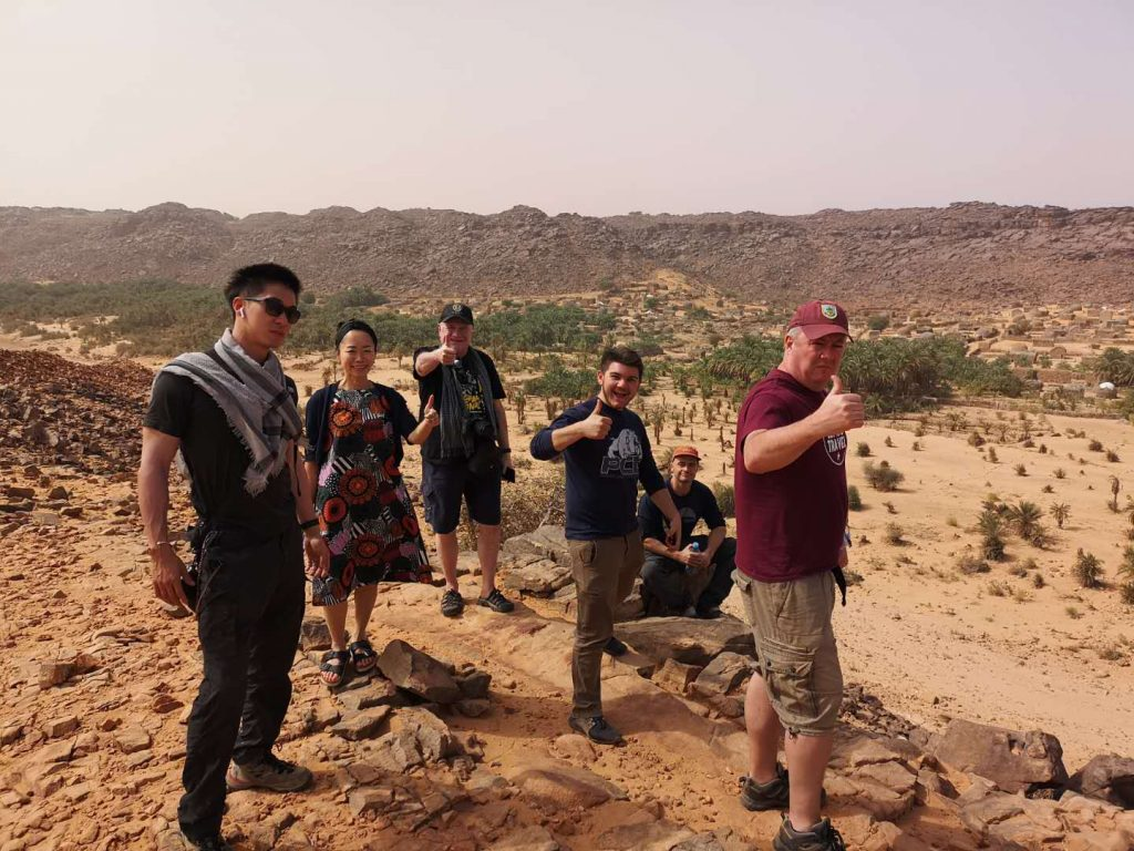 Our group enjoying the view of the White Valley Desert in Mauritania