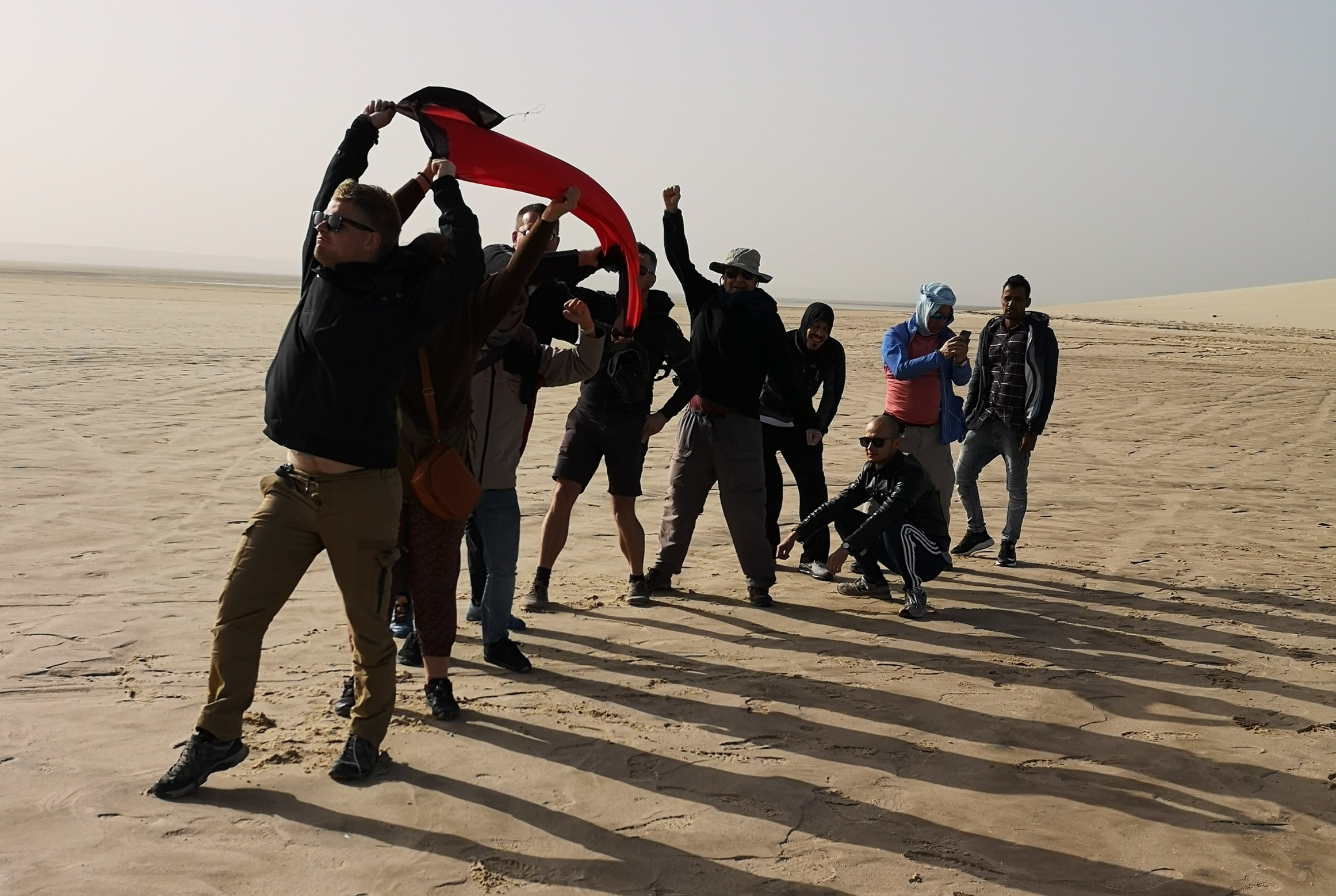 Our group walking in the desert of Western Sahara