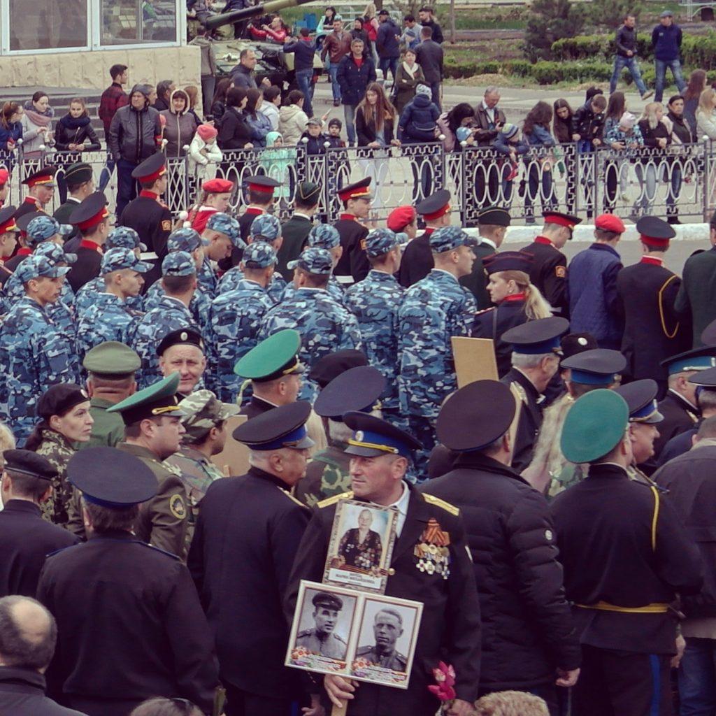 The national day parade happening in Tiraspol, Transnistria or Pridnestrovia