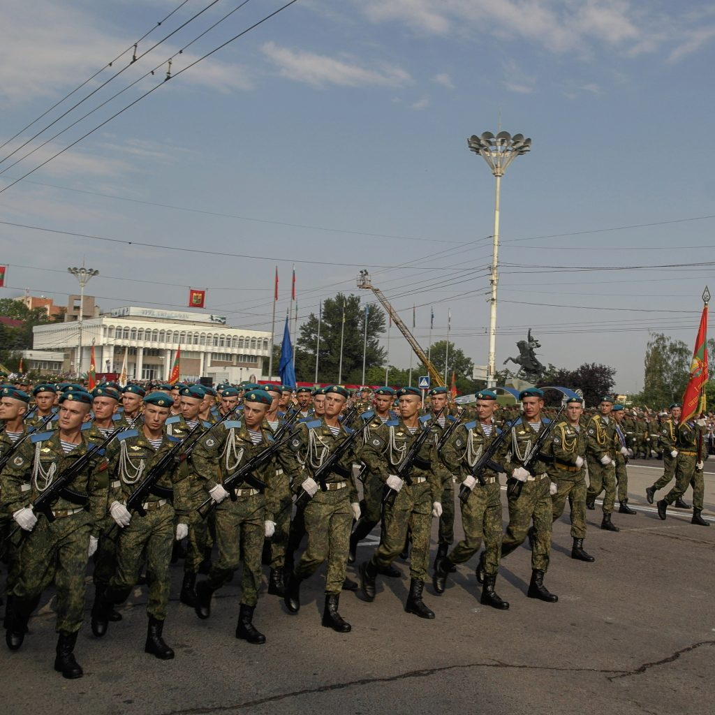 soldiers of transnistria marching during the national day parade