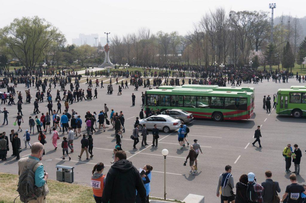The car park of the May Day Stadium or Rungrado Stadium of Pyongyang