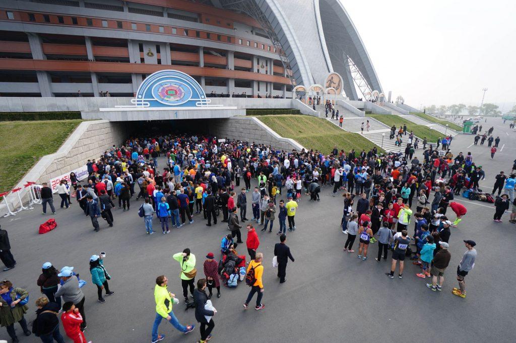 Spectators leaving the May Day stadium