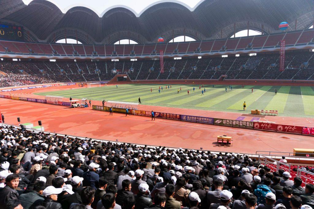 The interior of the May Day Stadium or Rungrado Stadium in DPRK