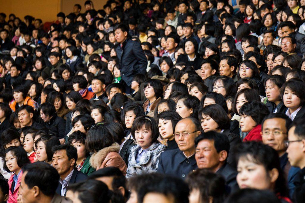 Local crowds at the Rungrado May Day Stadium