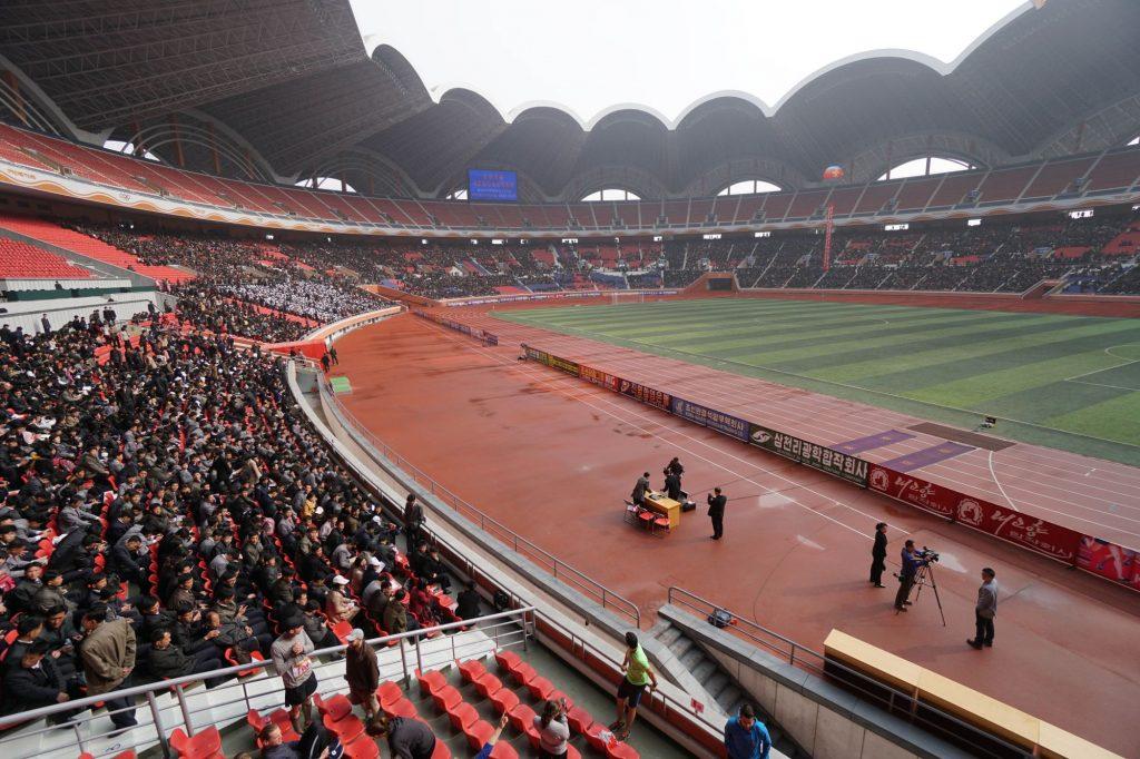Spectators at the Rungrado Stadium in North Korea