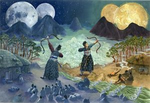 Two ancient Koreans with bows firing at the sky with four moons in the background.