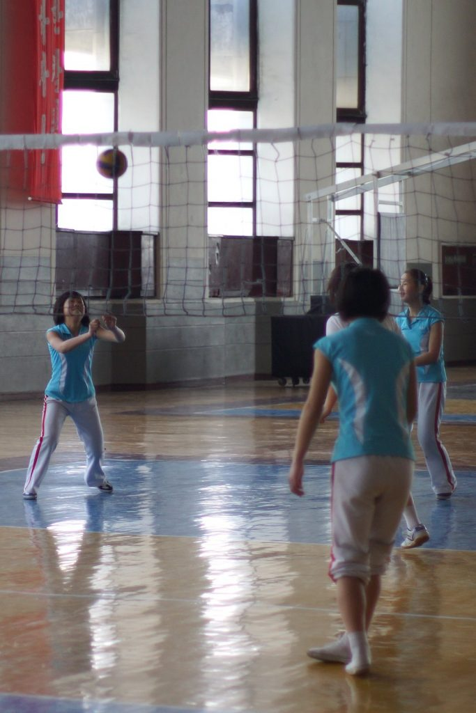 North Korean kids playing Volleyball at the Mangyongdae Children's place