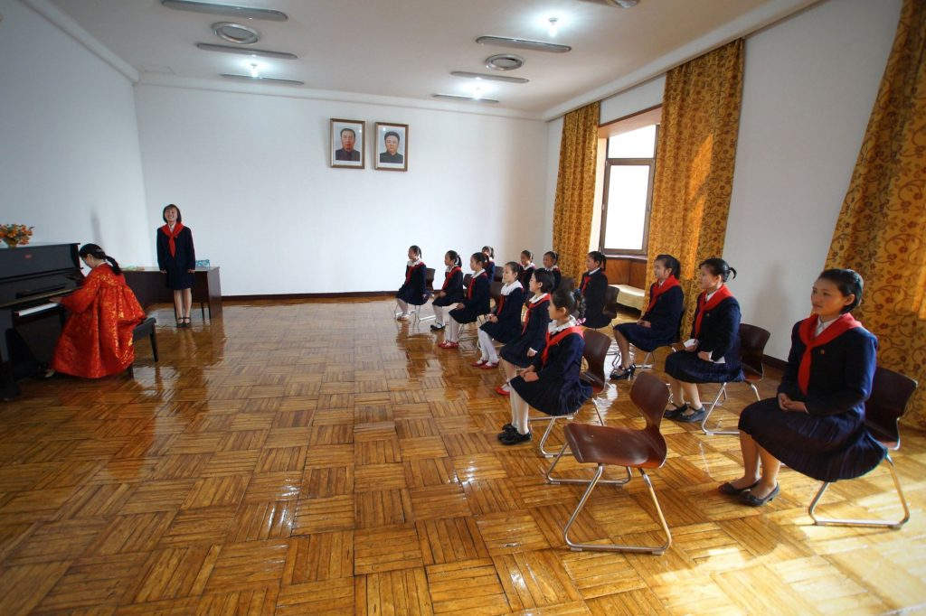 Singers are practicing at the Mangyongdae School Childrens palace