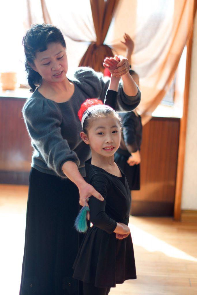 Practicing ballet at the Mangyongdae School