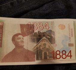 Personalized banknote in Serbian currency with Joel's face printed on it