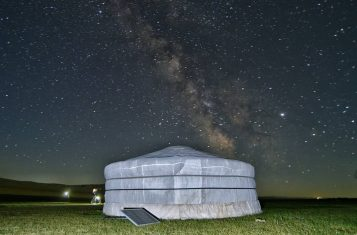 A ger pitched in the wilderness of Mongolia