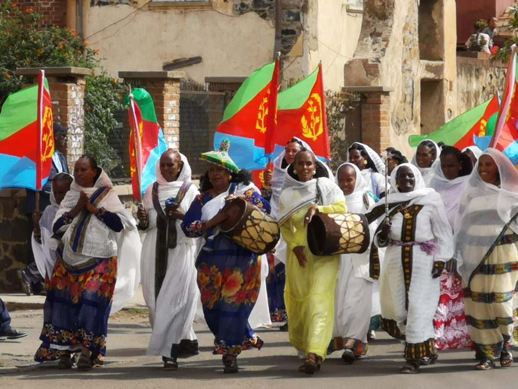 Eritrean parade with the national flag
