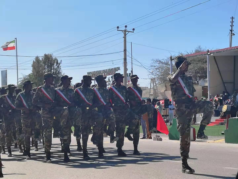 Infantry walking during Somaliland Independence Day Parade