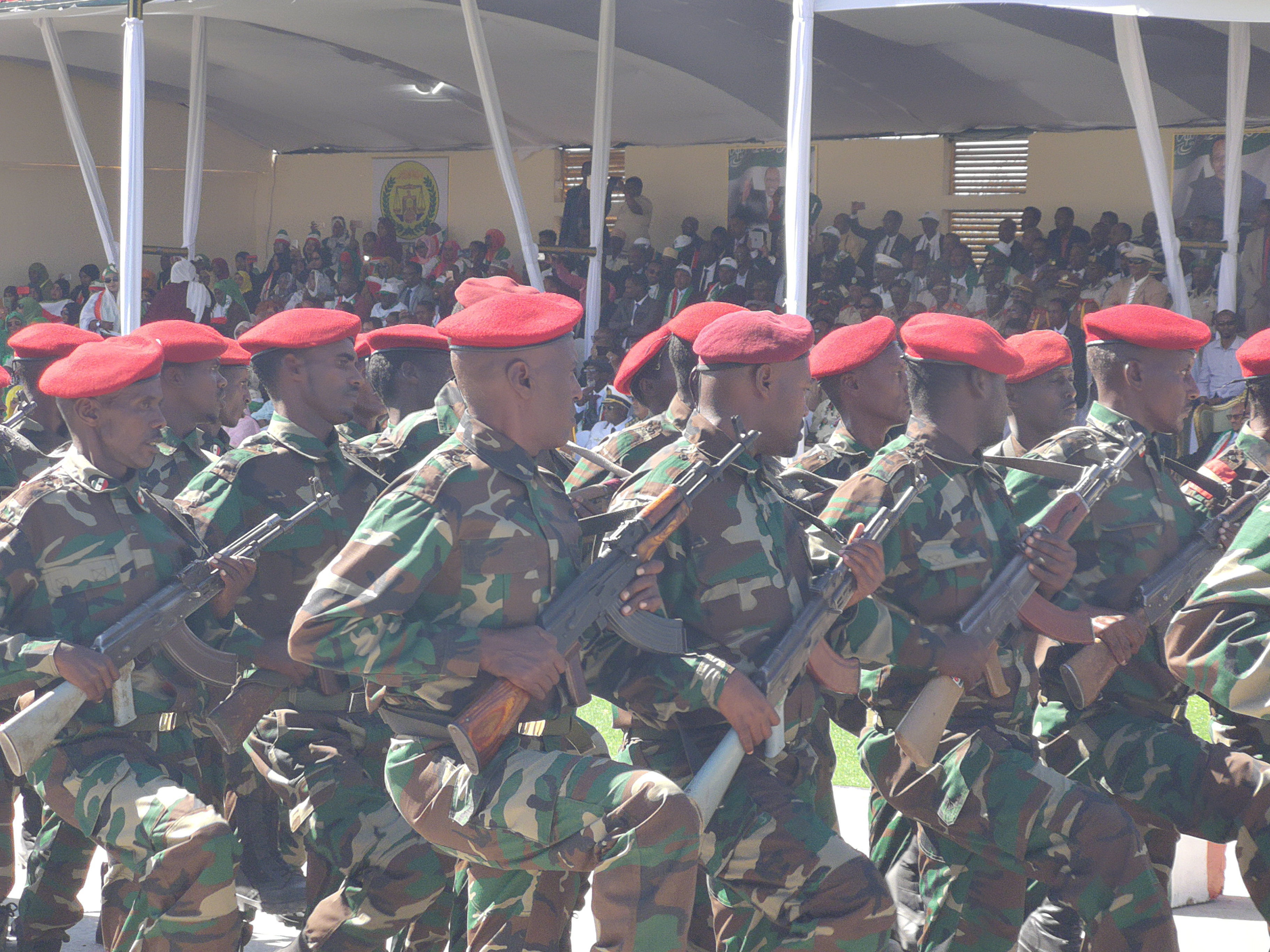 Soldiers goosestepping during the Somaliland Independence Day Parade