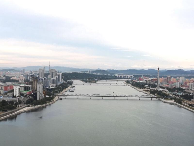 view of the taedong river, pyongyang, capital of north korea
