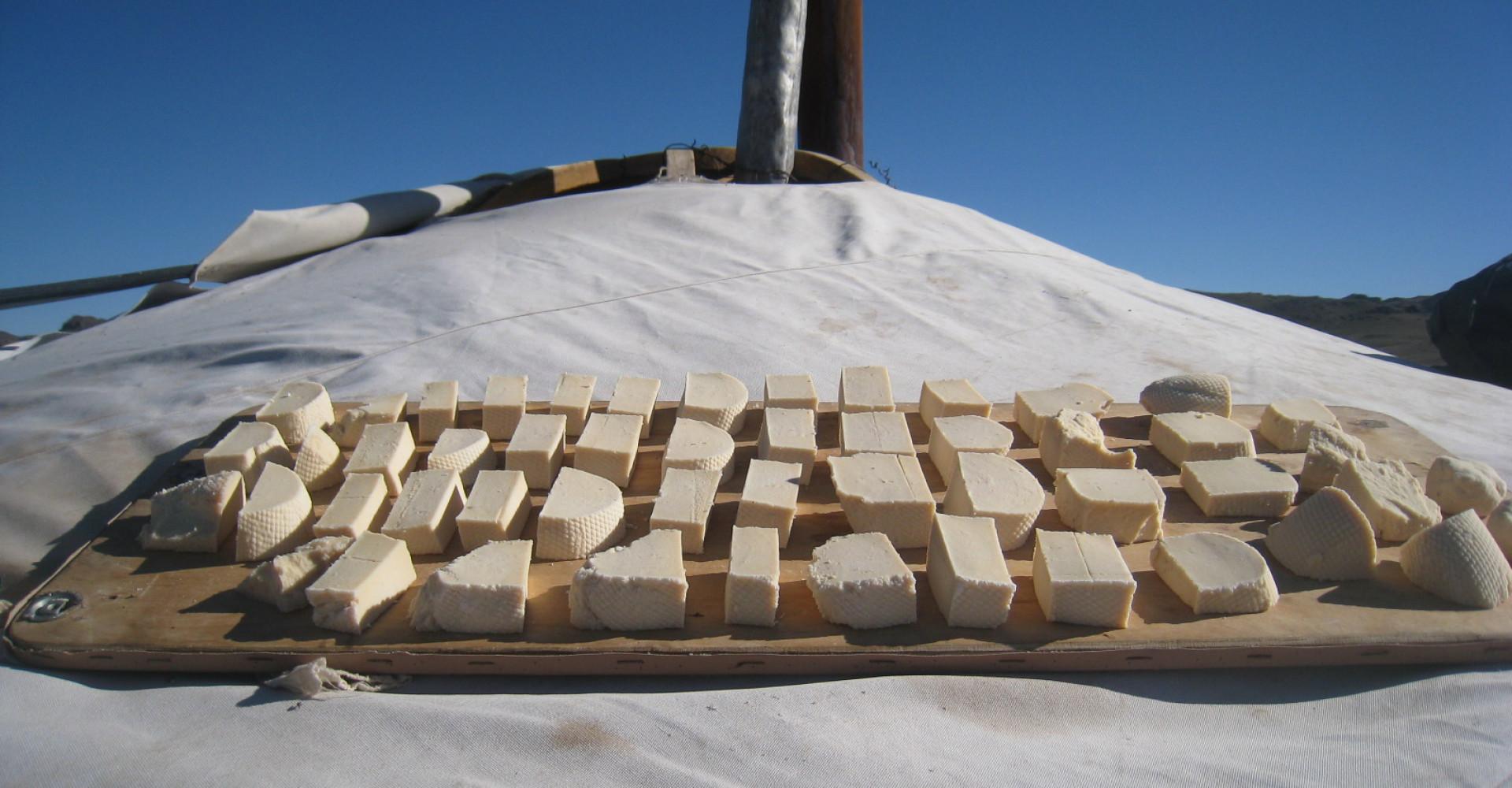 Mongolian cuisine: dried cheese curd