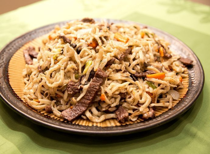 Mongolian Cuisine: fried noodles with mutton.