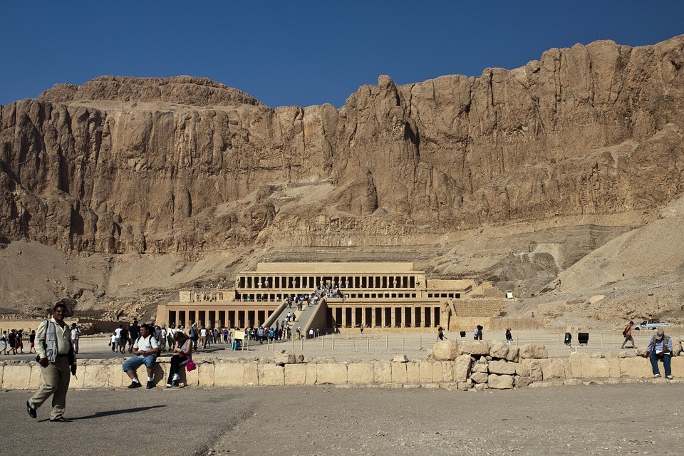 Tourists enjoy the Valley of the Kings on a typically sunny day.