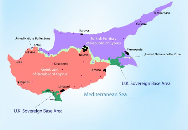 Divided countries: Cyprus and Northern Cyprus.