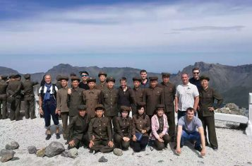 Taking a photo with a group of soldiers in Mt. Paekdu during our Pyongyang Korean Language Study Tour