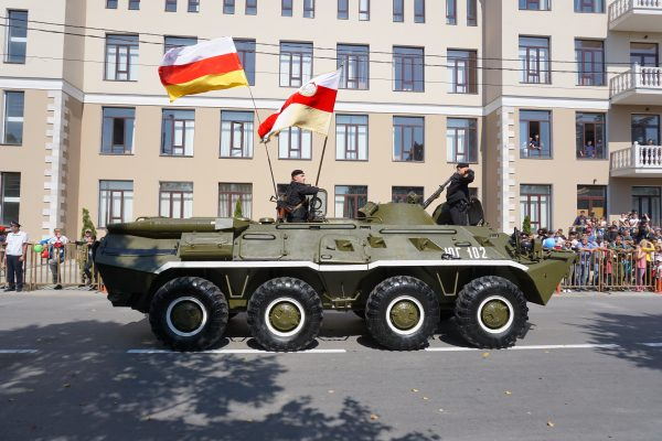 A tank owned by South Ossetia during a military parade in Tshinkval