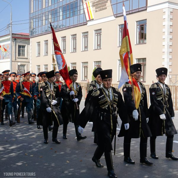 A battalion of Young Pioneers marching during South Ossetia Independence Day