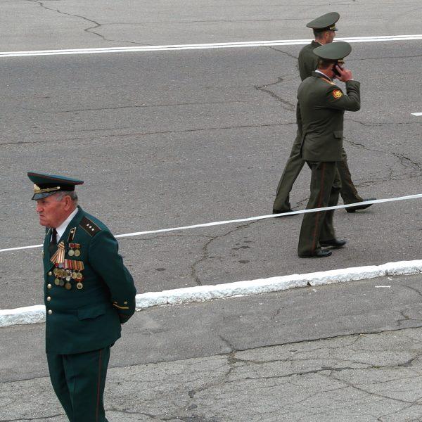 An officer walks in the streets of Tiraspol, Transnistria