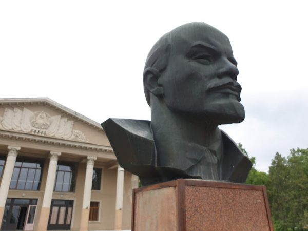 A bullet riddled statue of Lenin's head, in Transnistria