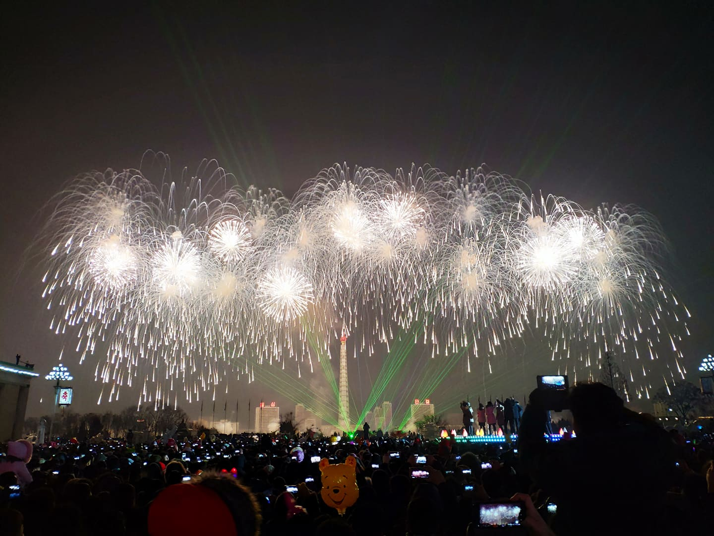 Fireworks over the Taedonggang river for New Year's celebrations in North Korea