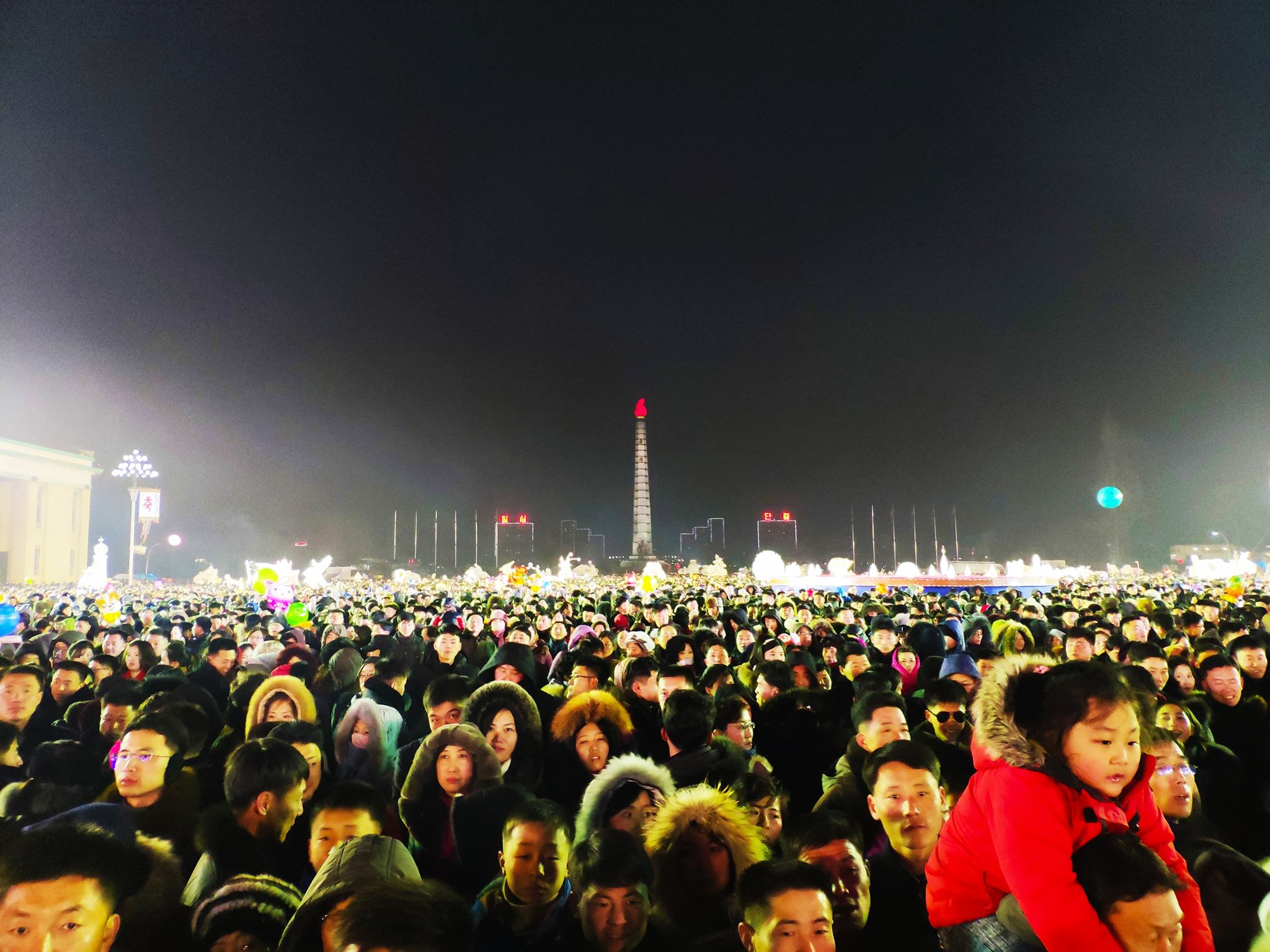 The crowds during New Years eve celebrations in Pyongyang