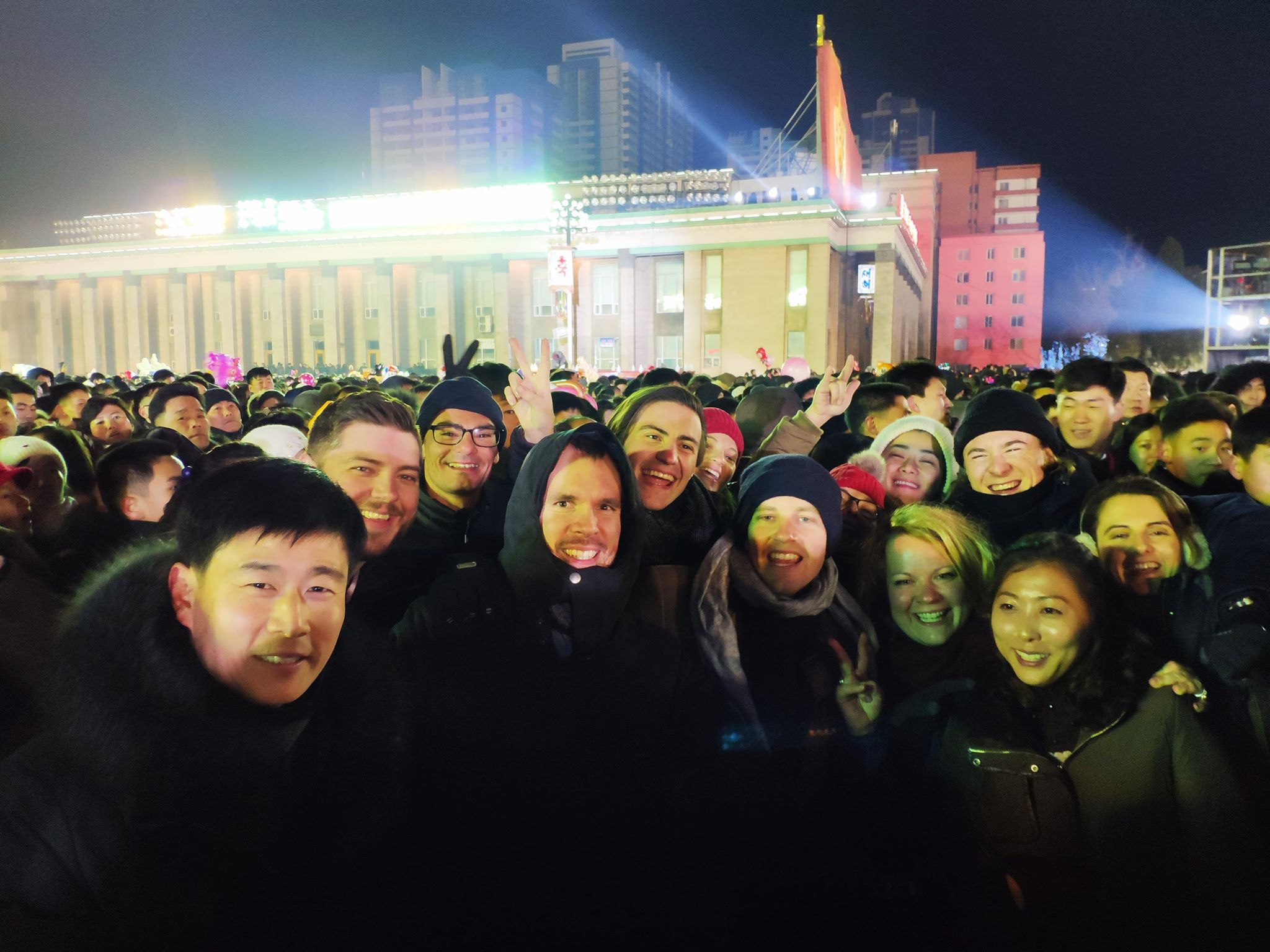Our group celebrating New Years alongside Koreans in Pyongyang