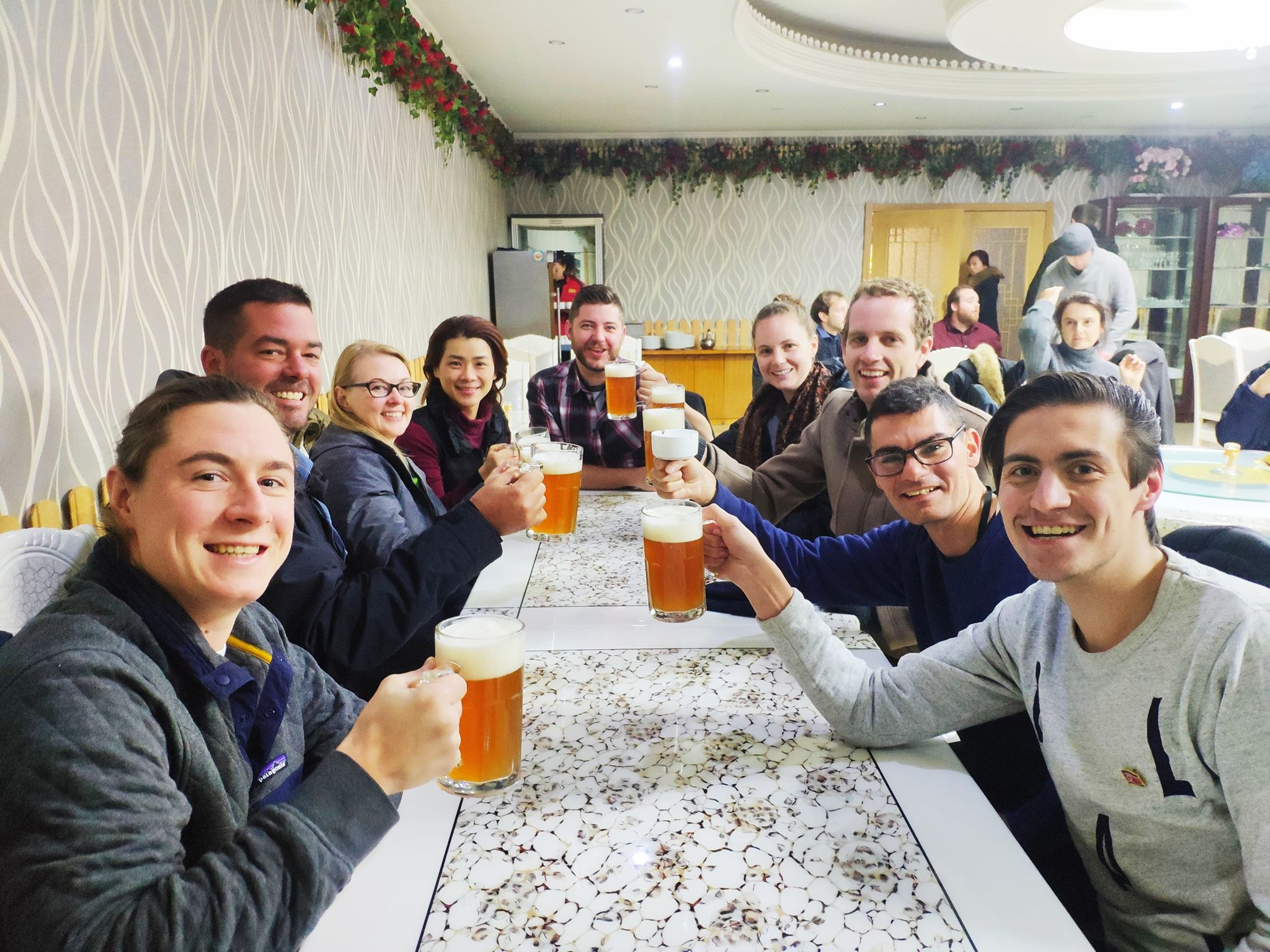 Having beers during New Years in Pyongyang