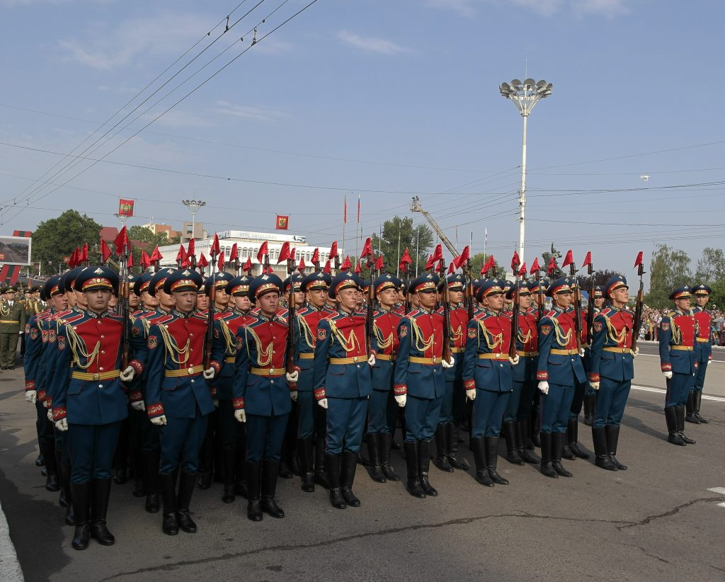 Transnistrian soldiers marching