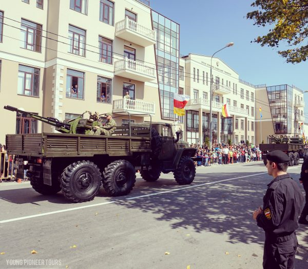 Trucks and machine guns parading during the Independence Day of South Ossetia