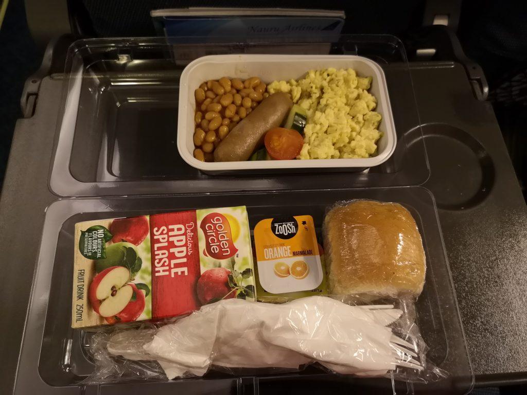 Breakfast as served on Nauru Airlines red-eye flight