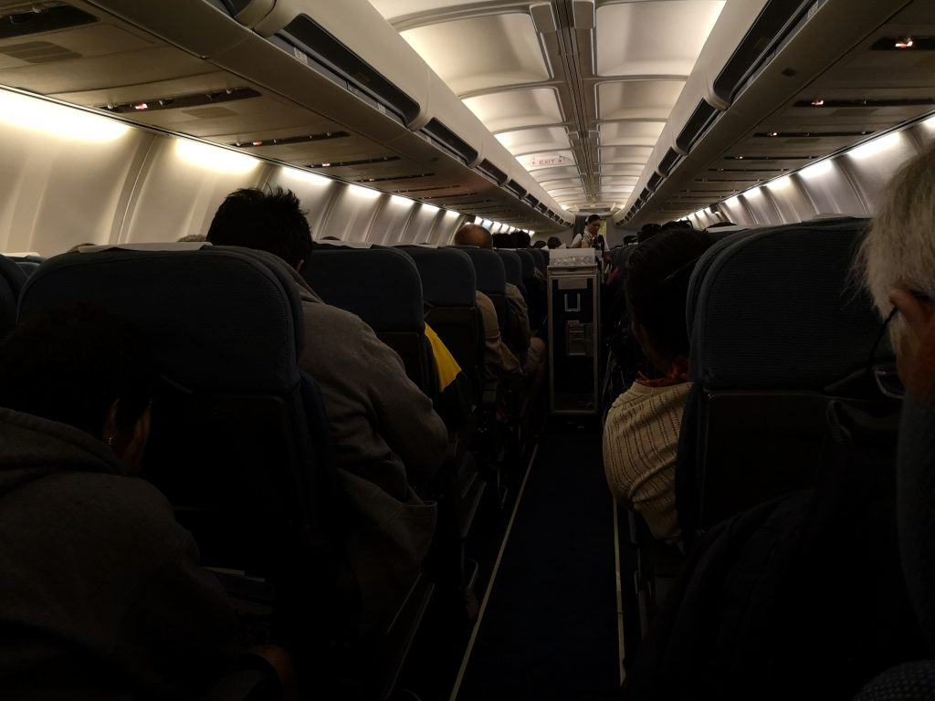 the inside of one of Nauru Airlines Boeing 730-400