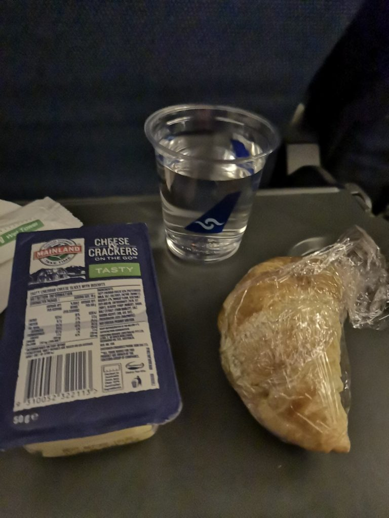 Substantial snacks are varied and often consist of a big sandwich on Nauru Airlines