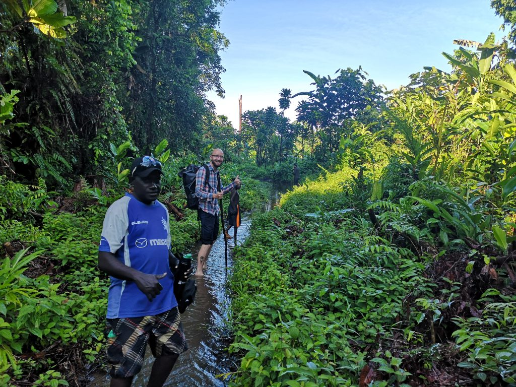 On the muddy path in Buin, Bougainville, towards the wreck of the plane of Isoroku Yamamoto