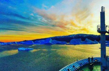 A stunning sunset image of Greenland