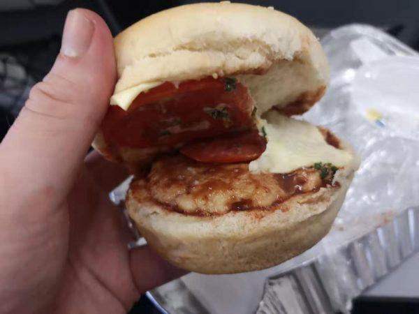 Air Niugini's mystery burger, a distant cousin of Air Koryo's similar burger