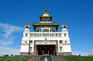 A picture of a Buddhist temple in the Kalmykia Republic.