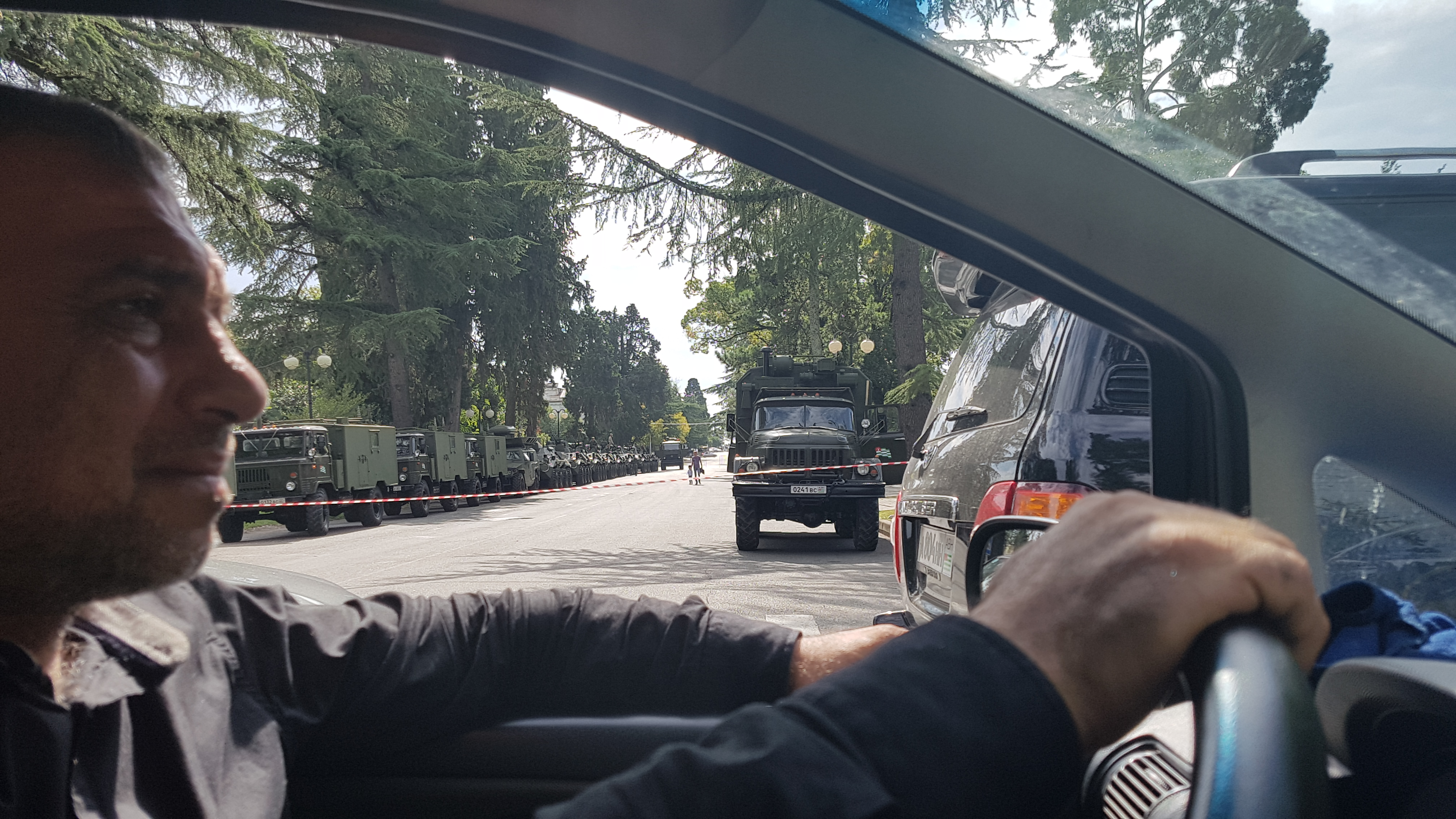 Seeing military trucks along the way in Abkhazia